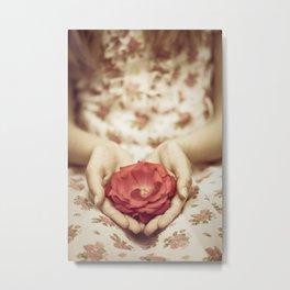 Rose in her hands II Metal Print