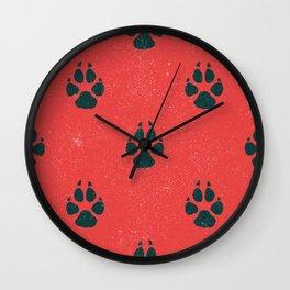 Distressed Tiger Paw Pattern Wall Clock