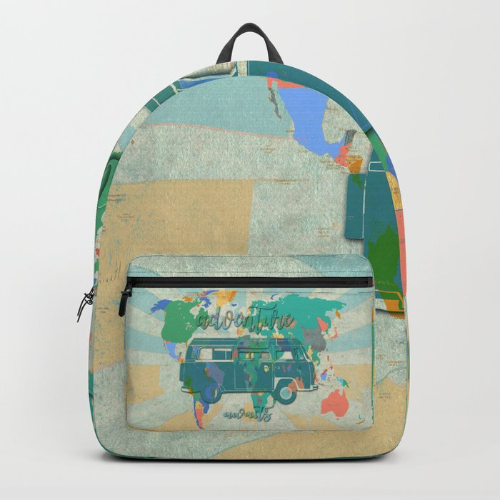 world map-adventure awaits 3 Backpack