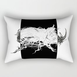 Beetle 1.  White on black background. Rectangular Pillow