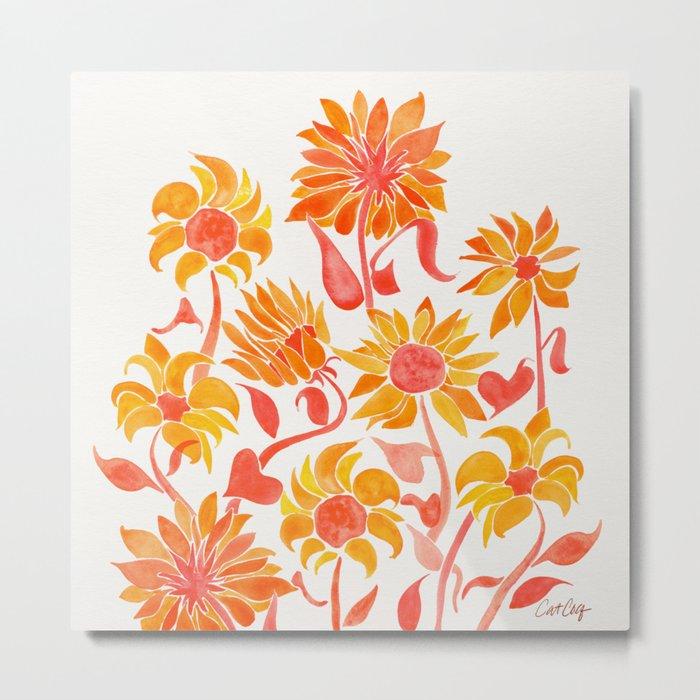 Sunflower Watercolor – Fiery Palette Metal Print