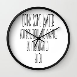 Drink Some Water, Kitchen Decor, Stay Hydrated, Kitchen Wall Art Wall Clock