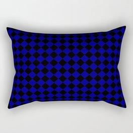 Black and Navy Blue Diamonds Rectangular Pillow