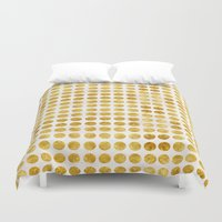 gold dots Duvet Covers featuring Gold Dots by MBJP BLACK LABEL
