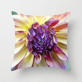 Purple and Yellow Dahlia Throw Pillow