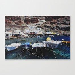 Boats in Ammoudi Harbor Canvas Print