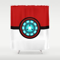 pokeball Shower Curtains featuring Pokeball Reactor by aleha