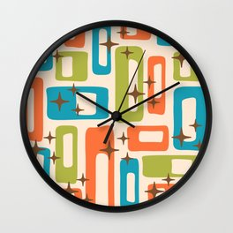 Retro Mid Century Modern Abstract Pattern 921 Orange Chartreuse Turquoise Wall Clock