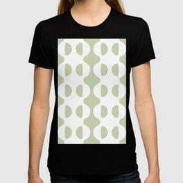 GROOVY RETRO SEAFOAM GREEN AND WHITE WAVY HALF CIRCLE PATTERN T-shirt