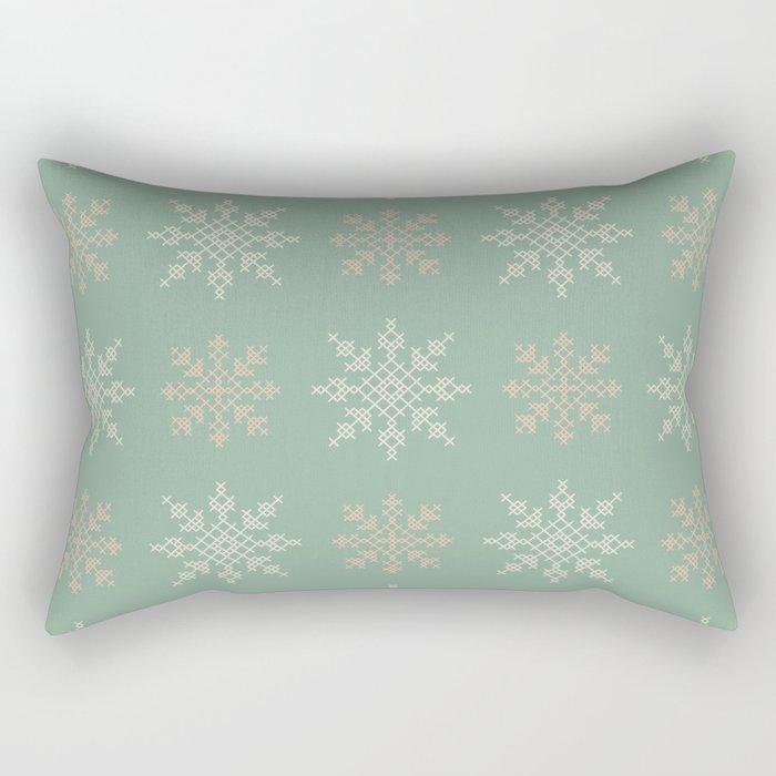 Snowflakes Cross Stitch Pattern (Mint) Rectangular Pillow
