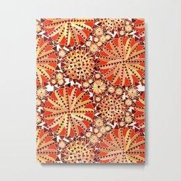 Tribal Mandala Print, Rust Orange and Brown Metal Print