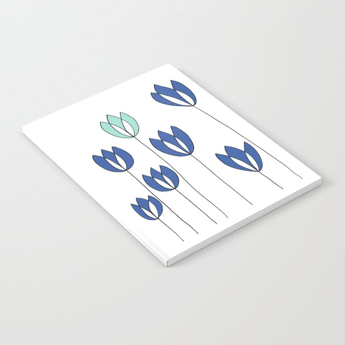 Drawing of Blue and Aqua Whimsical Tulips by Emma Freeman Designs Notebook