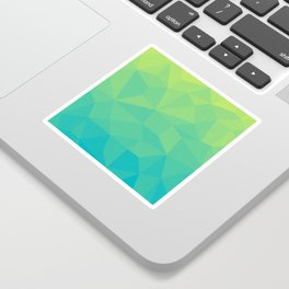 Abstract Geometric Gradient Pattern between Soft Green and Strong Cyan Sticker