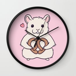 I love you more than this hamster loves pretzels Wall Clock