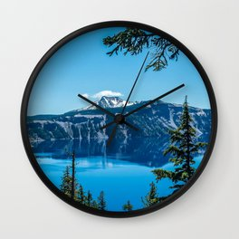 Crater Lake Views // National Park Landscape Photography Clear Deep Blue Waters Wall Clock