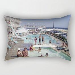 Shalimar Motel Pool 1960's, Wildwood, New Jersey, Retro Motel Rectangular Pillow