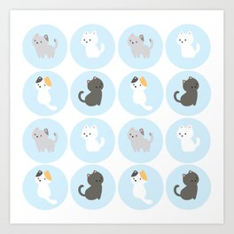 Cute Blue Kitties Art Print
