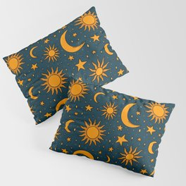 Vintage Sun and Star Print in Navy Pillow Sham