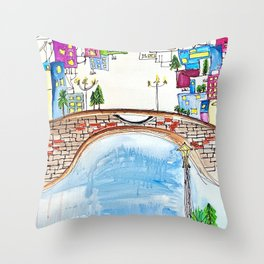 The Neighborhood. Original Artwork Painting Sketch. Bridge and Cityscape. Abstract City. Throw Pillow