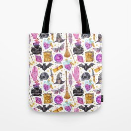 Pink gold black watercolor hand painted halloween pattern Tote Bag