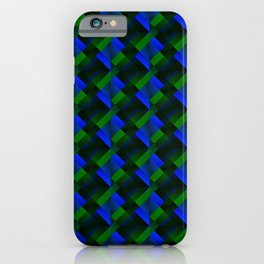 Tile of bright blue squares and triangles in green. iPhone Case