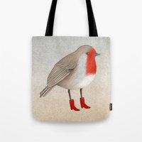 robin Tote Bags featuring Robin by Hana Stupica