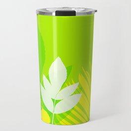 Jungle neon green Leaves Palm Yellow Travel Mug