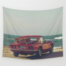 Red Supercar, classic car, triumph, spitfire, color photo, interior design, old car, auto Wall Tapestry