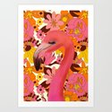 Flamingo with Retro Nz Floral by katrinaward
