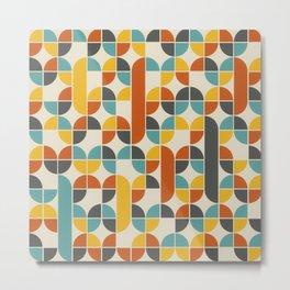 1970s Colors Mid Century Modern Geometric Pattern  Metal Print