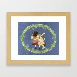 Sisters on swing Framed Art Print