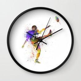 american football player man kicker kicking Wall Clock