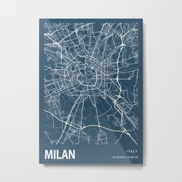 Milan Blueprint Street Map, Milan Colour Map Prints Metal Print