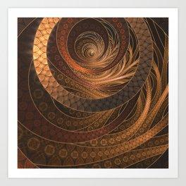 Earthen Brown Circular Fractal on a Woven Wicker Samurai Art Print