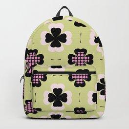 golden four-leaf clover pattern Backpack