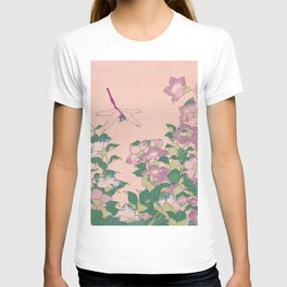 Dragonfly and Flowers Painting Vintage Art T-shirt