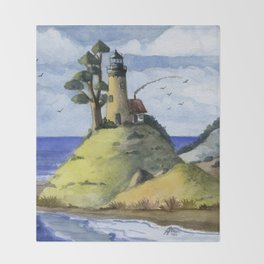 Peaceful Lighthouse IV Throw Blanket
