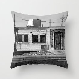 left alone, forgotten home, ruined building, warsaw, poland Throw Pillow