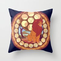 simba Throw Pillows featuring Simba by NicoleGrahamART