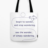 wander Tote Bags featuring Wander by The Traveller, Wanderlust and Me