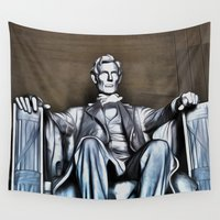 lincoln Wall Tapestries featuring Lincoln Statue Painting by MICHELLE MURPHY