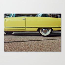 Retro yellow car Canvas Print