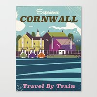 travel poster Canvas Prints featuring Cornwall vintage travel poster by Nick's Emporium