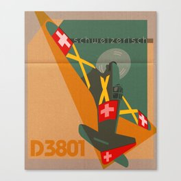 Swiss airplane poster, vintage D3801, ShreddyStudio Dennis Weber Canvas Print