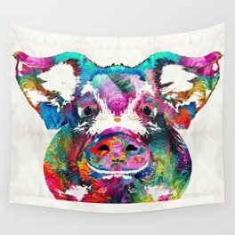 Colorful Pig Art - Squeal Appeal - By Sharon Cummings Wall Tapestry
