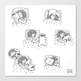 Sleeping with Mochi the pug Canvas Print