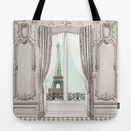 Eiffel Tower room with a view Tote Bag