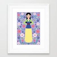 mulan Framed Art Prints featuring Mulan by Carly Watts