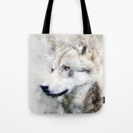 Watercolour grey wolf portrait Tote Bag