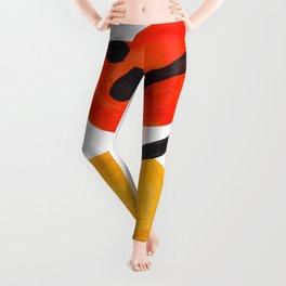 Midcentury Modern Colorful Abstract Pop Art Space Age Fun Bright Orange Yellow Colors Minimalist Leggings
